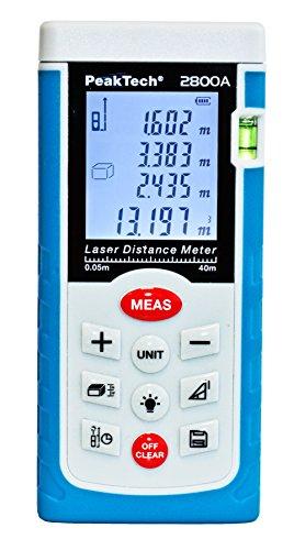 PeakTech Profi Laser- Entfernungsmesser 0.05 m bis 40 m - Distanzmessgerät mit hoher Präzision und Flächenberechnung, 1 Stück, P 2800A