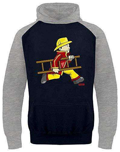 HARIZ Kinder Baseball Hoodie Feuerwehrmann Leiter Schnell Feuerwehr Lustig Plus Geschenkkarten Navy Blau/Hell Grau 104/3-4 Jahre