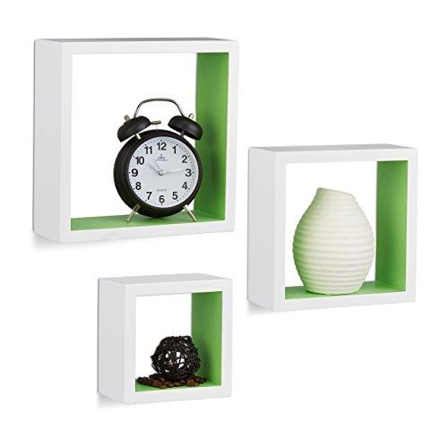 Relaxdays 10021791_252 mensole a muro quadrate, cubo, set da 3, legno mdf, varie misure, bianco/verde, 25 x 25 x 9 cm