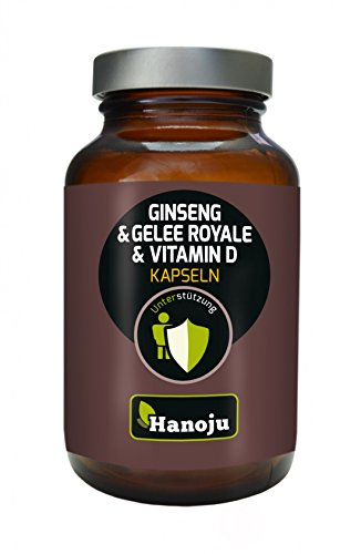 Hanoju Gelee Royal+Roter Ginseng+ Vitamin D2 500 mg 90 Kapseln eine tolle Kombination verschiedener, wichtiger Nährstoffe - 500 Mg 120 Gels