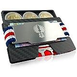 KNIGGE Kartenetui Herren mit Münzfach und Geldklammer in 7 Farben - RFID/NFC Schutz – Slim Wallet aus Gleit- Carbon gegen Kartenabrieb – Edle Kreditkarten Etuis - Mini Geldbörse