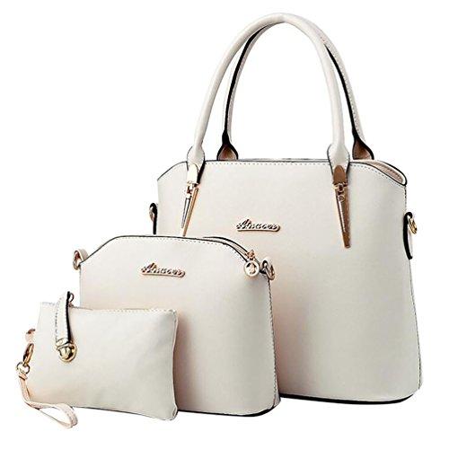 Baymate Damen Elegant Leder Handtaschen Schulter Beuteltote Schultaschen Hobo Set Weiß