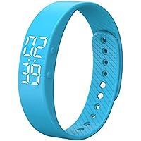 Fitness Tracker, Activity Tracker, IP67impermeabile intelligente braccialetto, contapassi, monitoraggio del sonno, contapassi, calorie Counter orologio per bambini donne uomini–regalo di Natale, T5S-Blue