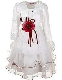 Robe de communion à fleurs et boléro pour petites filles rose