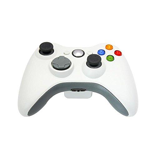 PYRUS Dispositivo de juego del cojín del controlador remoto inalámbrico Xbox 360 controlador Xbox 360 inalámbrica nueva para el mando inalámbrico Xbox 360 de Microsoft PC con Windows 7 XP Joypad para el controlador de Windows Wireless Bluetooth Gamepad para el gamepad de Xbox 360 Bluetooth (Blanco)