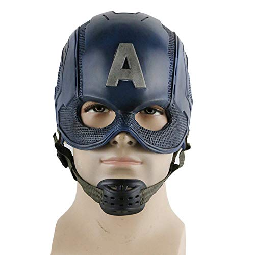 Captain American Mask Cosplay Kostüm Masken Halloween Helm Maskerade Burlesque Ball Party One Size für 59~62 cm,PVC-OneSize
