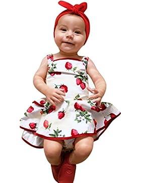 Longra Mädchen Kleider Baby Kleider mit Erdbeerdruck Kleider Stramplerkleid Kinder Mädchen ärmellos Sommerkleider...