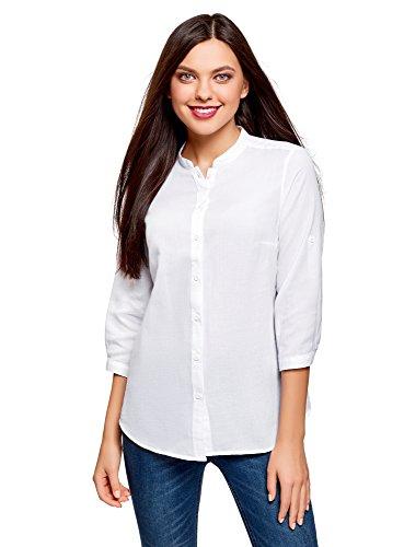 Oodji collection donna camicia in cotone con collo alla coreana, bianco, it 42 / eu 38 / s