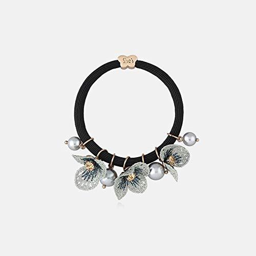 votovcom Handbestickte Haarschmuck Retro Elegante lila Blumen Gummiband Haar Seil Kopfschmuck Zip-Tail Seil Haar Ring weiblich, E Stretch-lycra-ring