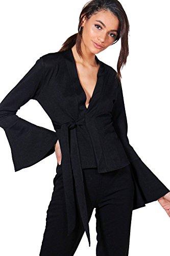 Femmes Noir Emily Flute Sleeve Tie Front Blazer Noir