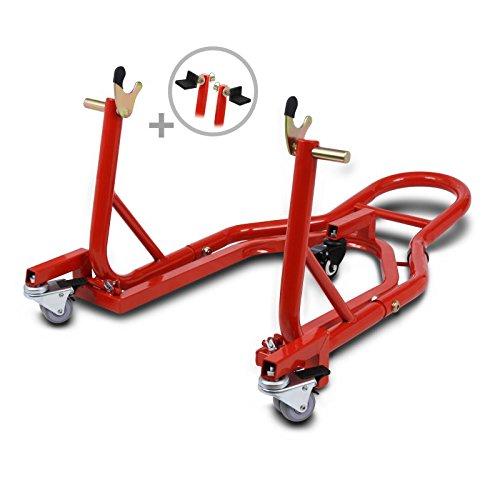 ConStands Mover II Universal - Motorrad Montageständer Yamaha MT-07 Tracer Rot Hinten Rangierhilfe Hinterrad-Ständer Heber
