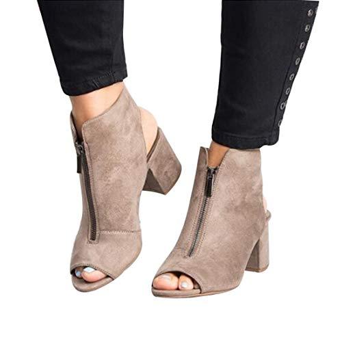 Sfit Damenmode Sandalen Hohe Chunky Heels Stiefeletten Reißverschluss Vorne Leder Lässig Offene spitze Fischmaul Schuhe