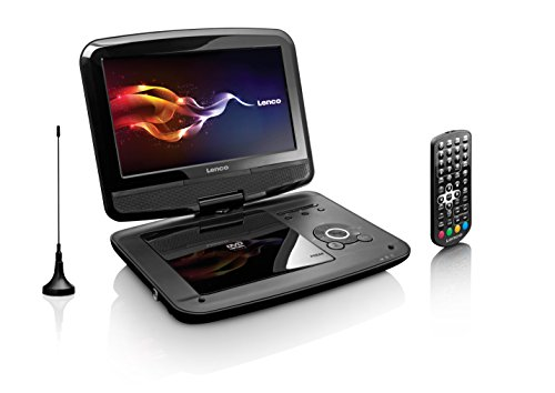 Lenco Tragbarer DVD-Player DVP-9413 22,9 cm (9 Zoll) DVB-T2, 12V Kfz Adapter, Kopfstützen-Halterung, USB, SD, schwarz - Zoll Tv-dvd-player 9 Tragbare
