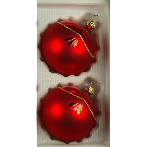 Sfere rosso lucido/opaco 2 PZ d 12 cm per albero di Natale drachensilber vetro soffiato, decorate a mano con vetro originale lauscha