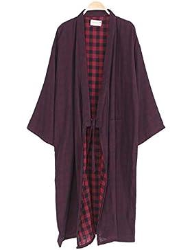 Trajes de estilo japonés de los hombres Pure Cotton Kimono Robe Albornoz Pijamas # 02