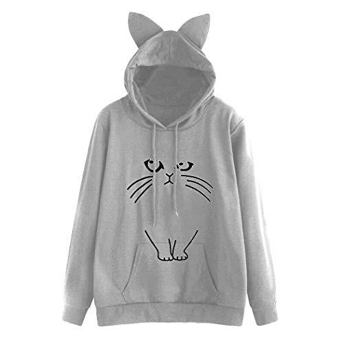 Logobeing Sudadera Mujere Gato Imprimir Linda Hoodie Sudaderas con Capucha Sudaderas Chica Bonita Cortas Sweatshirt Pullover Tops Blusas Jersey (L, Gris)