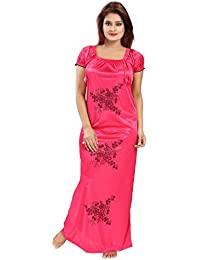 Shopping World Women's Pink Satin Nighty (Free Size_Solid_1 Nighty)