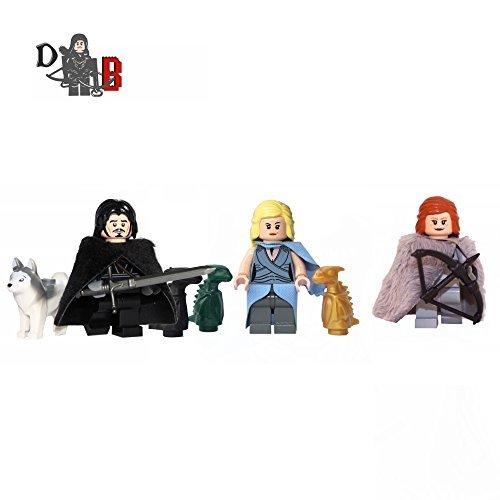 Figuritas-Juego-de-Tronos-Jon-Nieve-Daenerys-Targaryen-y-Nuevo-3-Unidades-LEGO