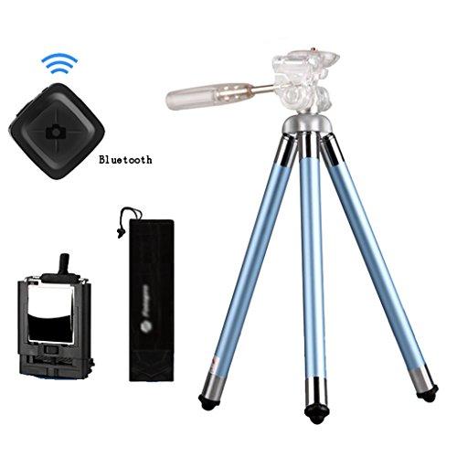 Preisvergleich Produktbild Brilliant firm Zubehör Stative Handy-Stativ Blau Tragbare Mini-Kamera Mikro-Einzelstativ Bluetooth-Fernbedienung Selbstauslöser-Halterung Zum Senden von Telefon-Clip (Color : Blue,  Size : High 105cm)
