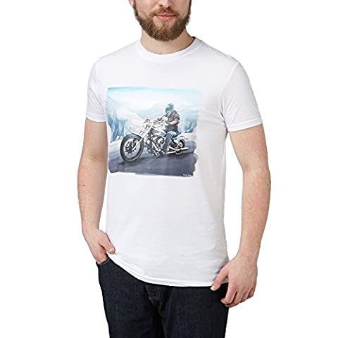 Charles Wilson Printed Crew Neck T-Shirt (X-Large, Motorcycle)