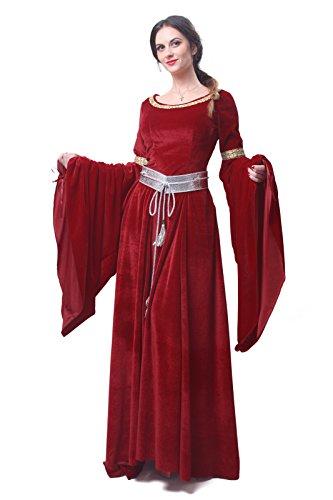 Nuoqi Mittelalterliches Damen Gothic Kleid Cosplay Kostüm Maskenkostüm Maxi Kleider
