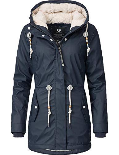 Ragwear Damen Outdoor-Jacke Regenparka Monadis Rainy Black Label Navy Gr. L