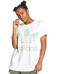 the latest b658e 32092 adidas Big Trefoil, T-Shirt Donna, WhiteBlush Green, 42