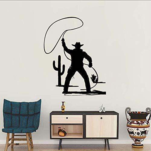 mmwin Ankunft Wandaufkleber Aufkleber Wild West Cowboy Hut Western Style Horse Bull Vinyl Wandtattoos WohnzimmerWandhauptdekor 42 * 53 cm