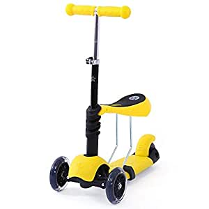 Rabing Children, Kick Scooter with Foldable & Adjustable Seat, 3 LED Light up Wheels, Perfect for Boys and Girls, Yellow, Medium