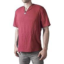 Lofbaz Camiseta de cuello en V 100% de algodón Tailandesa Hippie Playa y Yoga
