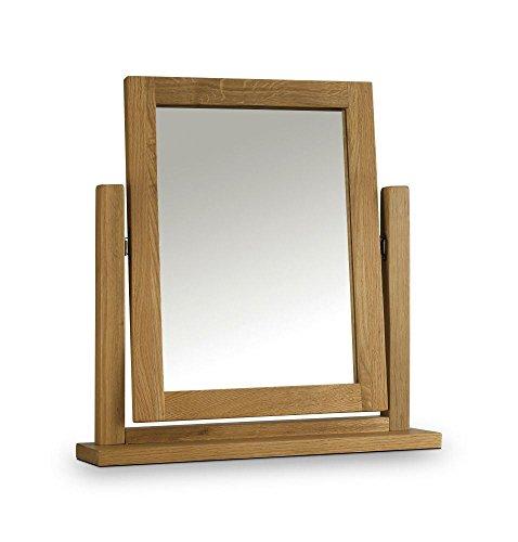 Happy Beds Marlborough Waxed Oak Wooden Dressing Table Mirror Adjustable Free  Standing Bedroom