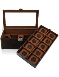 Friedrich|23, Uhrenkasten, Für 20 Uhren, Echtleder, Vintage-Optik, 35,5 x 19,5 x 16 cm, Abschließbar, Glasdeckel, Cubano, Braun, 27024-6