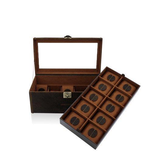 Friedrich23-Uhrenkasten-Fr-20-Uhren-Echtleder-Vintage-Optik-355-x-195-x-16-cm-Abschliebar-Glasdeckel-Cubano-Braun-27024-6