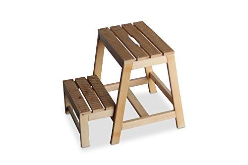 GartenDepot24 stabiler Tritt Hocker aus Buchenholz mit 2 Stufen, klappbar, natur, B38 x T54 x H45 cm