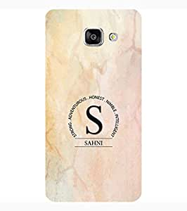 YuBingo Samsung Galaxy A7 2017 Edition Designer Phone Back Case Cover ( Monogram with Beautifully Written Surname Sahni in Marble Finish (Plastic) )