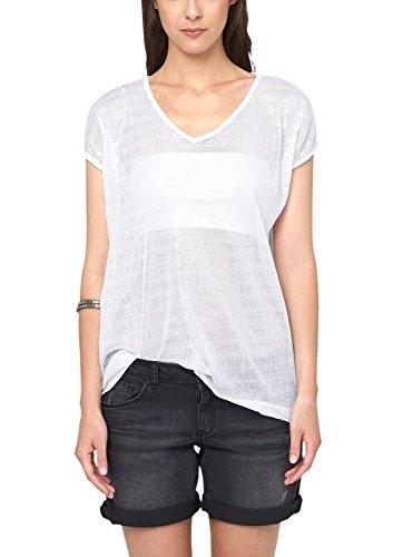 s.Oliver Denim Damen T-Shirt mit Silberprint, Einfarbig Weiß (white 0100)