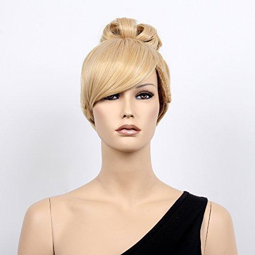 Blonde Perücke Flip (stfantasy kurz Perücken für Frauen Kunsthaar Gerade Hitzebeständig 30,5cm 120g Hochsteckfrisur Perücke peluca gratis Haarnetz + Clips,)