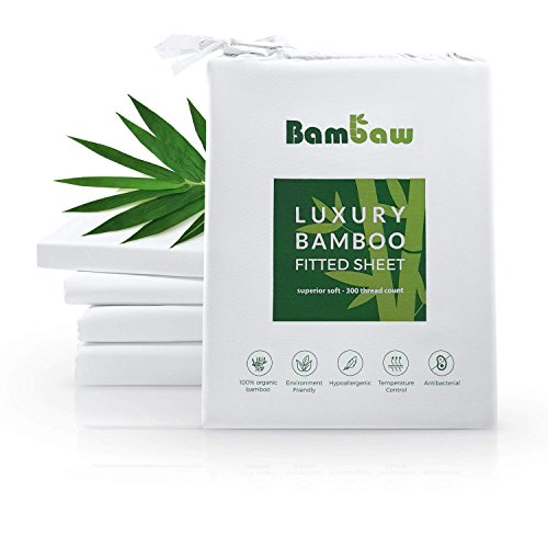 Bambaw Sábana Bajera de Bambú | Suave y Lujosa | Fitted Sheet | Tejido de Microfibra Bambu | Bed Sheets | Sostenible | Sábana Hipoalergénica | Transpirable | Blanco|90x190x35