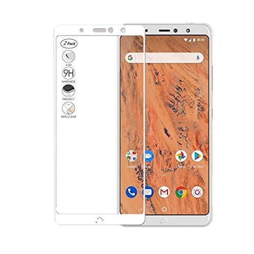HERCN (2 Pack) BQ Aquaris X2,X2 Pro Bildschirmschutzfolie, Full Coverage Vollkleber 2.5D 9H Härte Gehärtetem Glas Tempered Bildschirmschutz Screen Protector für BQ Aquaris X2,X2 Pro Smartphone (Weiß)