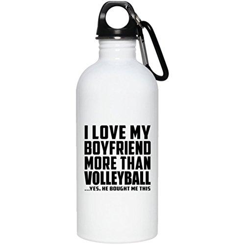 Designsify I Love My Boyfriend More Than Volleyball .He Bought Me This - Water Bottle, Wasserflasche Edelstahl Isoliert Becherglas, Geschenk für Geburtstag, Weihnachten