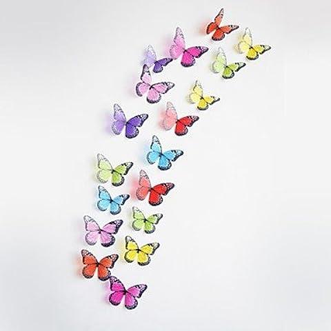 Piteng? 18pcs 3d autoadesivi della parete stickers murali, farfalle colorate adesivi murali in pvc