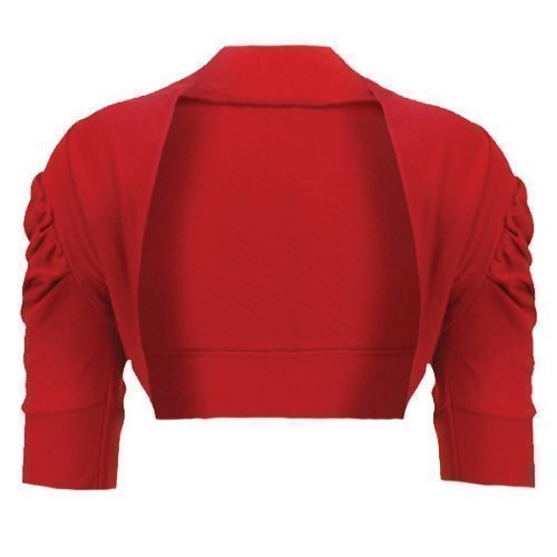 Girls Ruched Sleeve Cotton Bolero Shrug in Red 9-10 Years