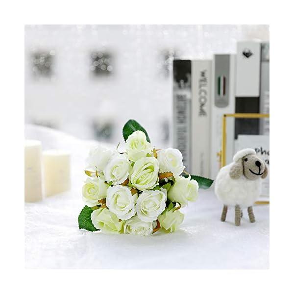 JUSTOYOU Ramo de Rosas Artificiales, Ramo de Flores Artificiales de Seda para Novia, Ramo de 12 Cabezas para decoración…