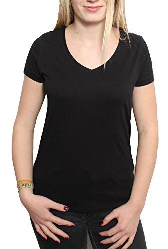 Damen V-T-Shirt Aus 100% Bio-Baumwolle, V Shirt, V-Neck mit moderatem Ausschnitt, Kurzarm V-Tshirt, Organic Cotton (M, Schwarz) (T-shirt Jersey Baumwoll V-neck)