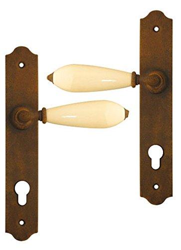 Poignée de porte d'entrée rustique en fer forgé brun et porcelaine blanche sur plaque Clé I entraxe 195 mm, RUSTICA