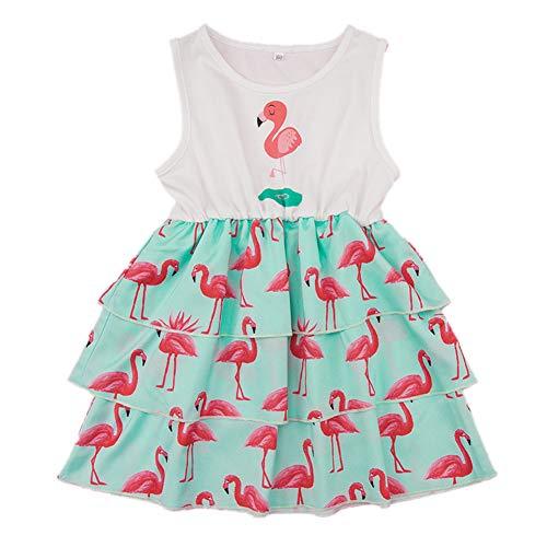 mel Flamingo-Sommer-Party-Prinzessin Dress Outfits Kleidung Kleinkind Printed Kostüm Label Size 90 ()