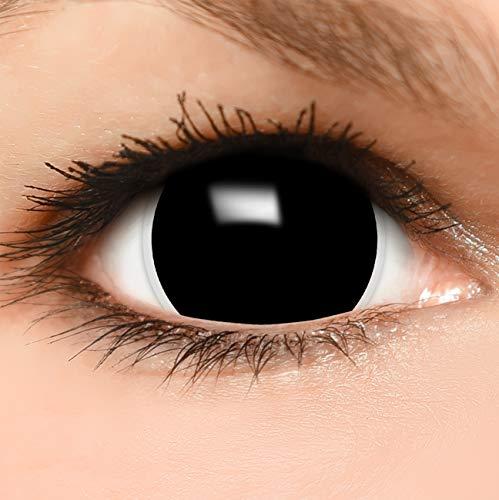 Farbige Maxi Black Sclera Kontaktlinsen Lenses inkl. 10ml Kombilösung und Behälter - Top Linsenfinder Markenqualität, 1Paar (2 - Top Paar Kostüm