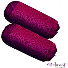 Belive-Me Deal Collection Embosed Velvet 2 Piece Bolster Cover - Purple