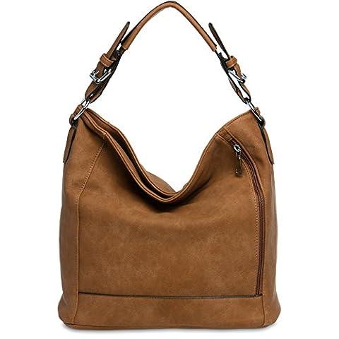 CASPAR TS917 Damentasche / Handtasche / Shopper / Schultertasche / Messenger Bag / Hobo Bag, (Zwei Taschen Hobo)