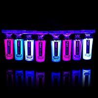 UV Glow Neon Face and Body Paint (Set of 8 Tubes) - Fluorescent - Brightest glow under UV, uv reactive face paint, festival essentials, face paint, uv face paint, neon face paint